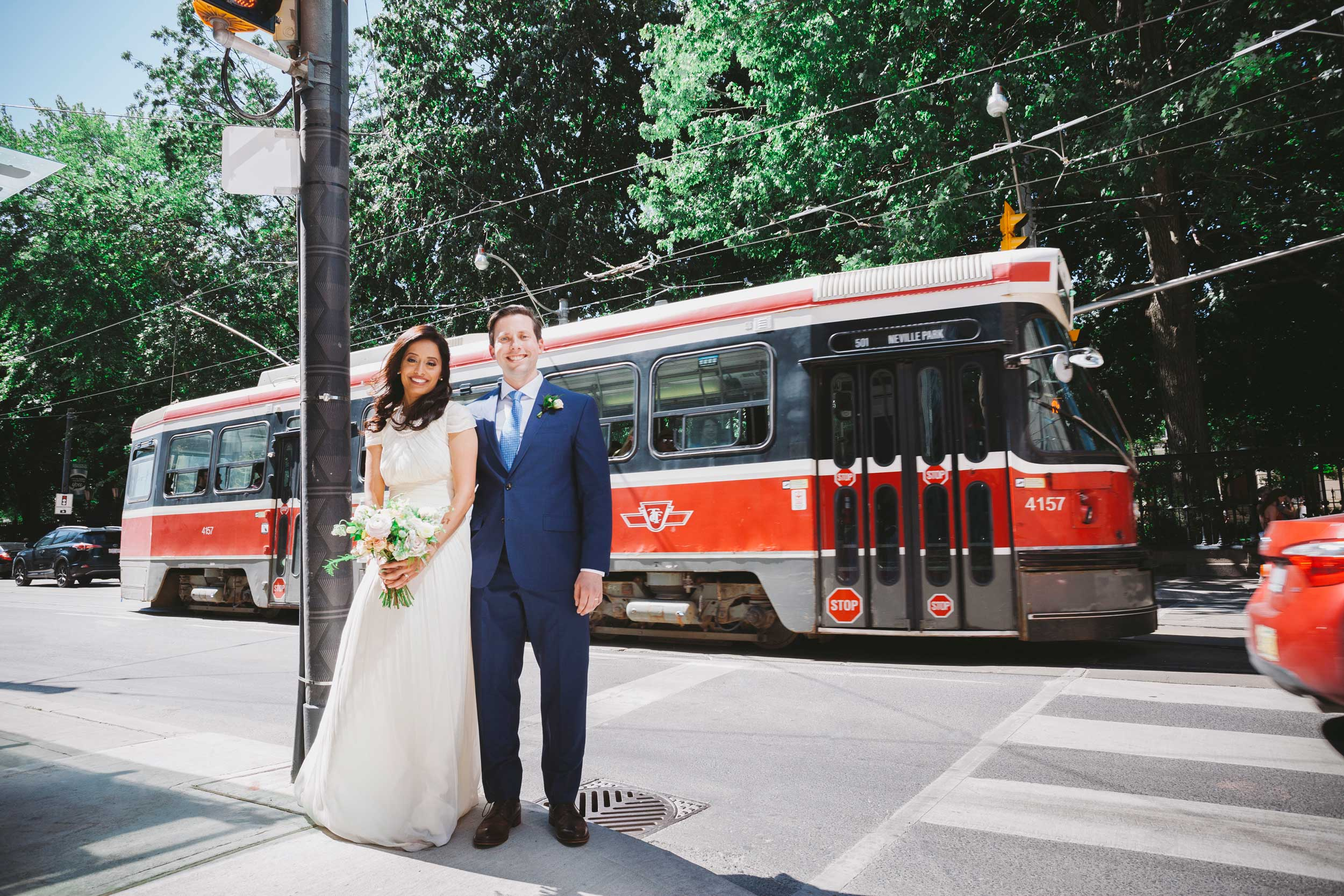 Wedding Photo with the 501 Queen Streetcar in Toronto