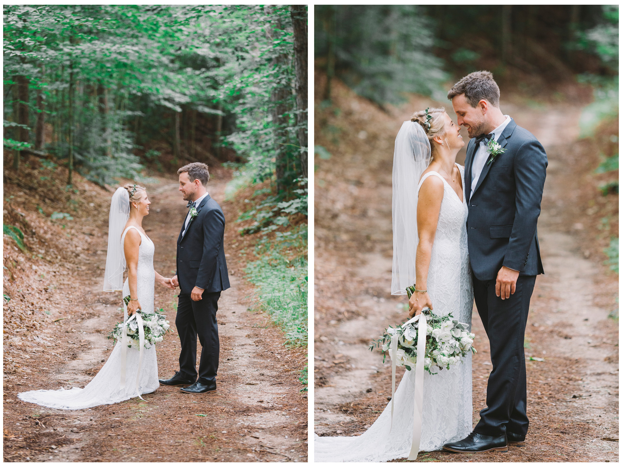 Wedding couple walking through the woods at Drysdale's Tree Farm