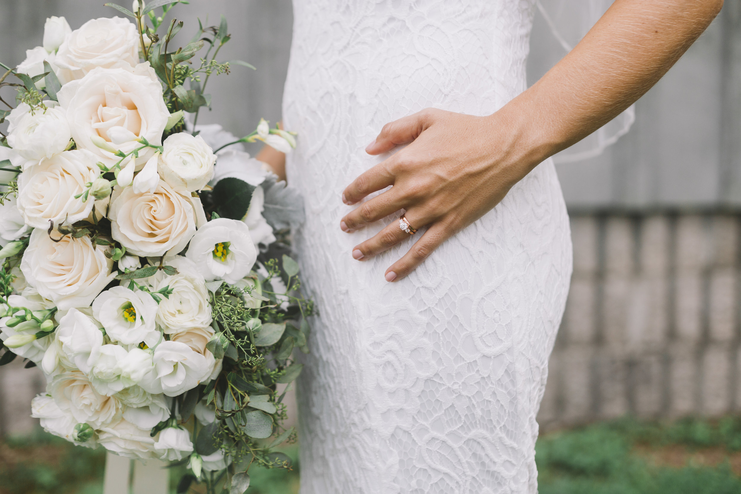 Wedding Ring with Bouquet of Flowers