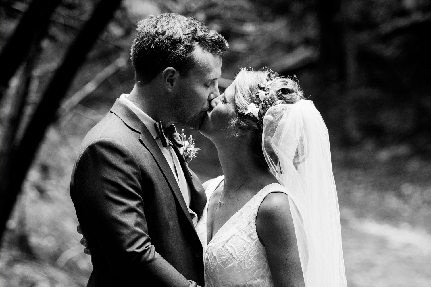 Wedding couple photo in the woods at Drysdale's Tree Farm