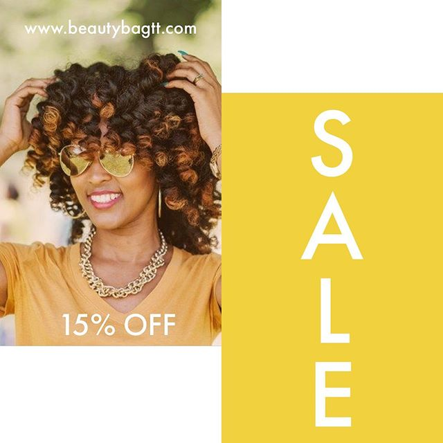 Wrapping up the July- August break with a SAAAALLLEE!!! 🎉🎈💃 . Grab 15% off all your favorite products for back to school or back to work. You don't wanna miss this deal! 🛒 . Sale Ends - August 31st 😉 . #summersale #sale #naturalhairproductstt #natuaralhairtt #trinidadnaturals #caribbeannaturals #curlstt #beautybag