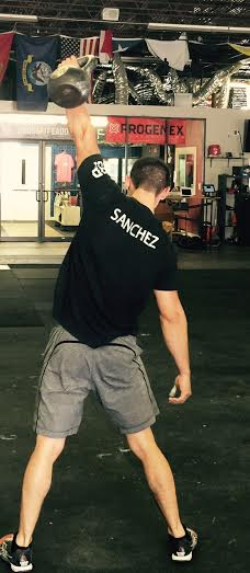EaDo Elite Athlete Victor Sanchez during the kettlebell snatch section of yesterday's WOD.
