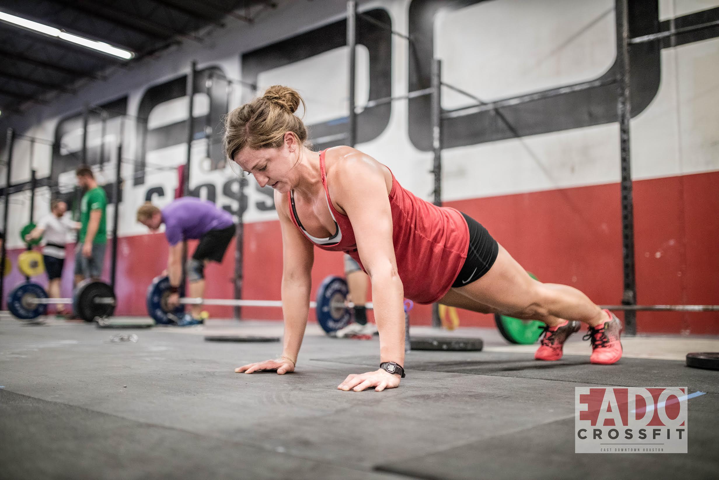 EaDo Elite Athlete Sara Fish doing pushups in a WOD 3 weeks ago.  Photo Credit: Sierra Prime