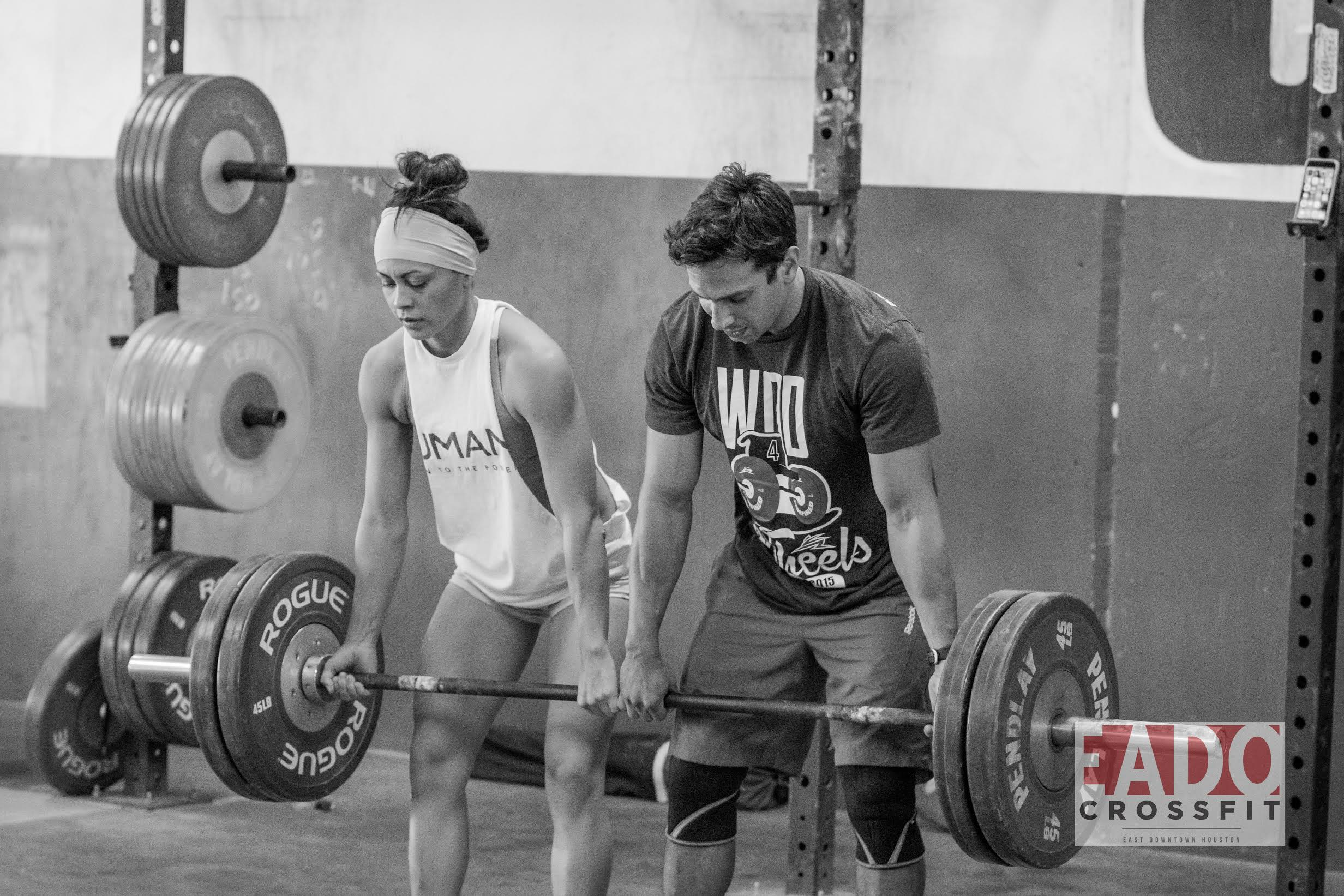 EaDo Elite Athletes Shane and Leah performing partner deadlifts.  Photo Credit:  Sierra Prime