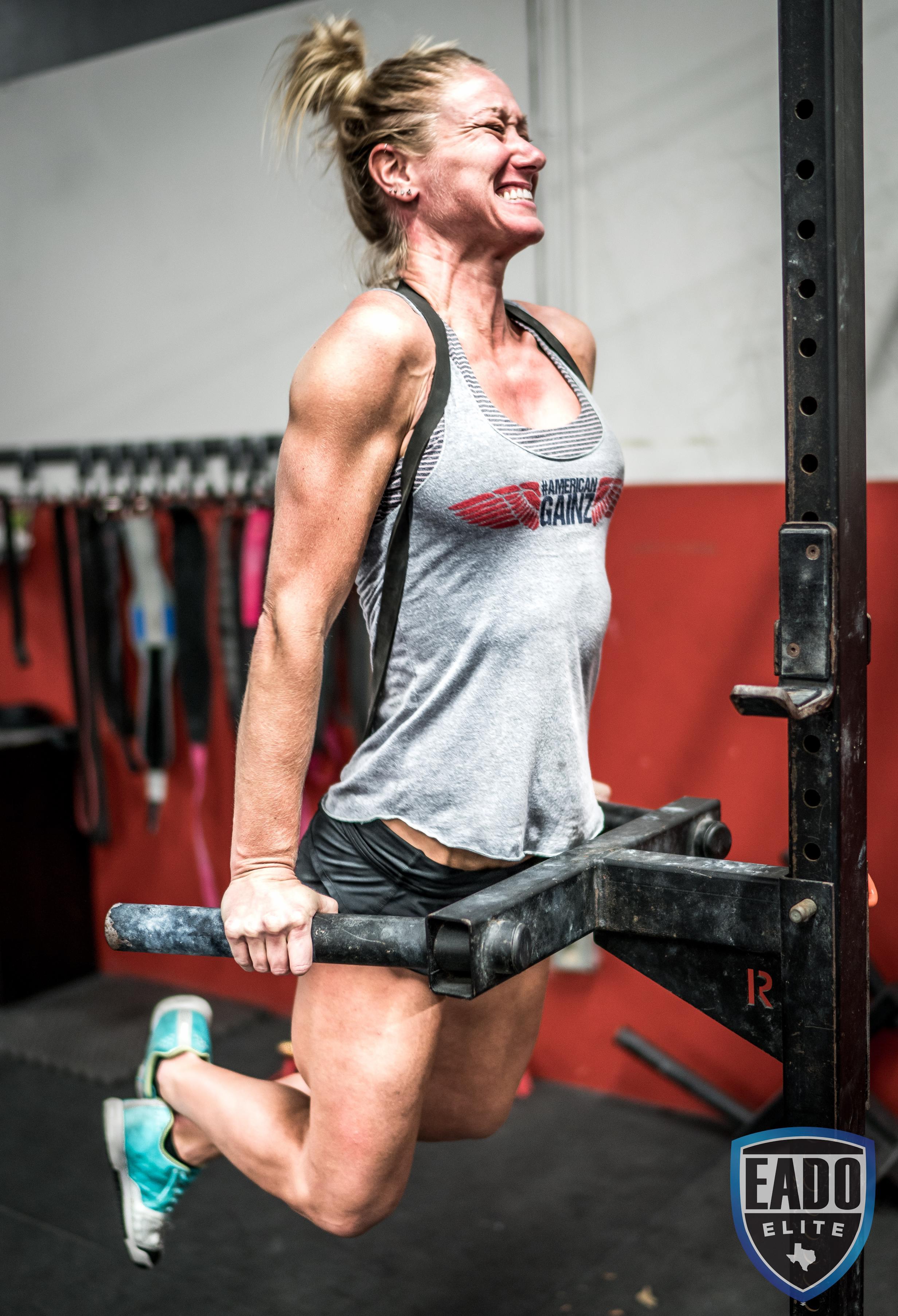 EaDo Elite Athlete Julie Felts doing weighted dips  Photo Credit:  Sierra Prime