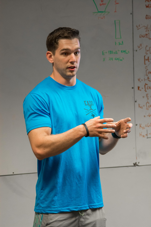 EaDo Elite Coach Connor Martin talking about programming during the EaDo Elite Athlete Camp