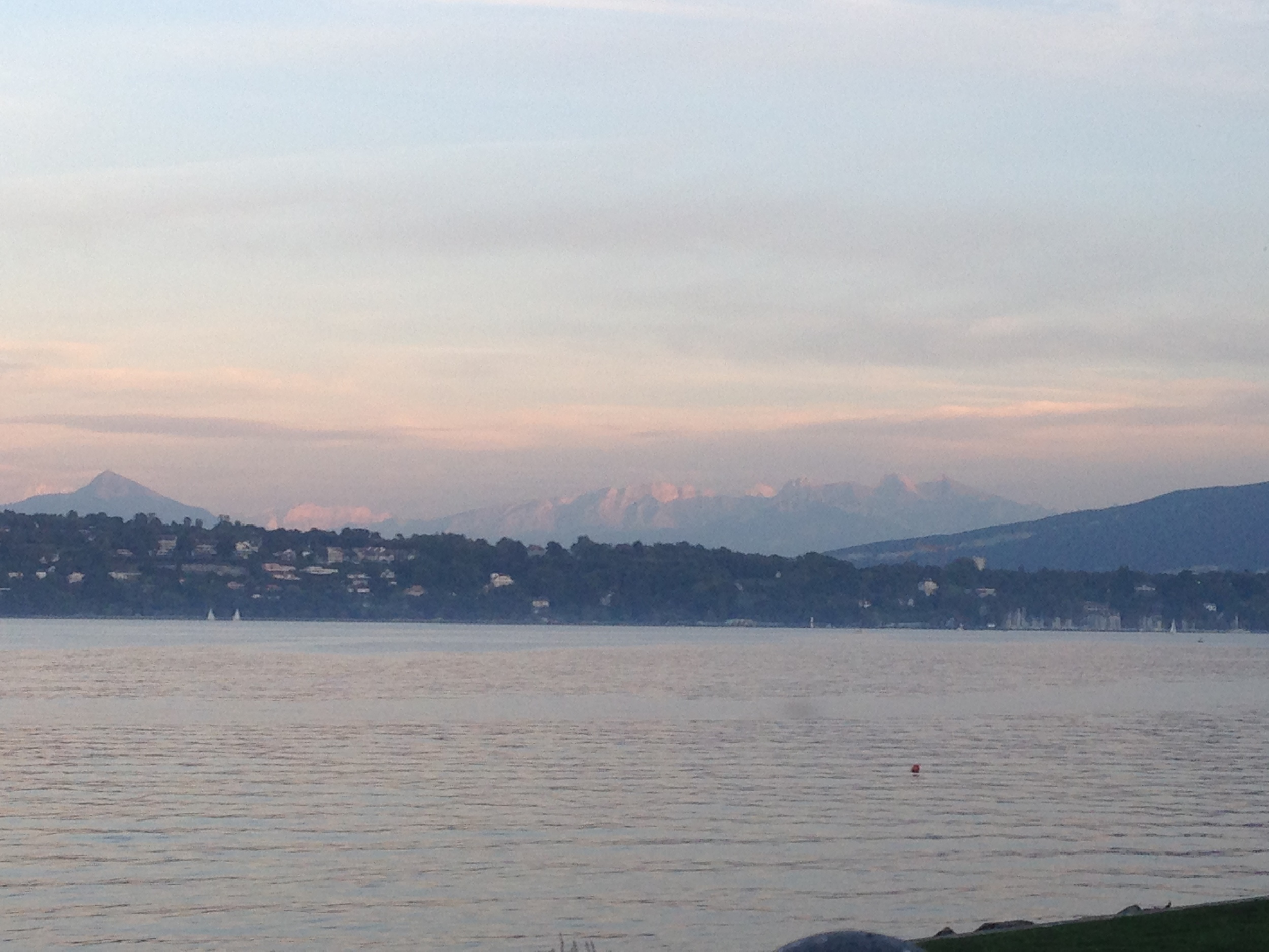 A view from dinner on the Lake Geneva shore -- hard works must always be rewarded.