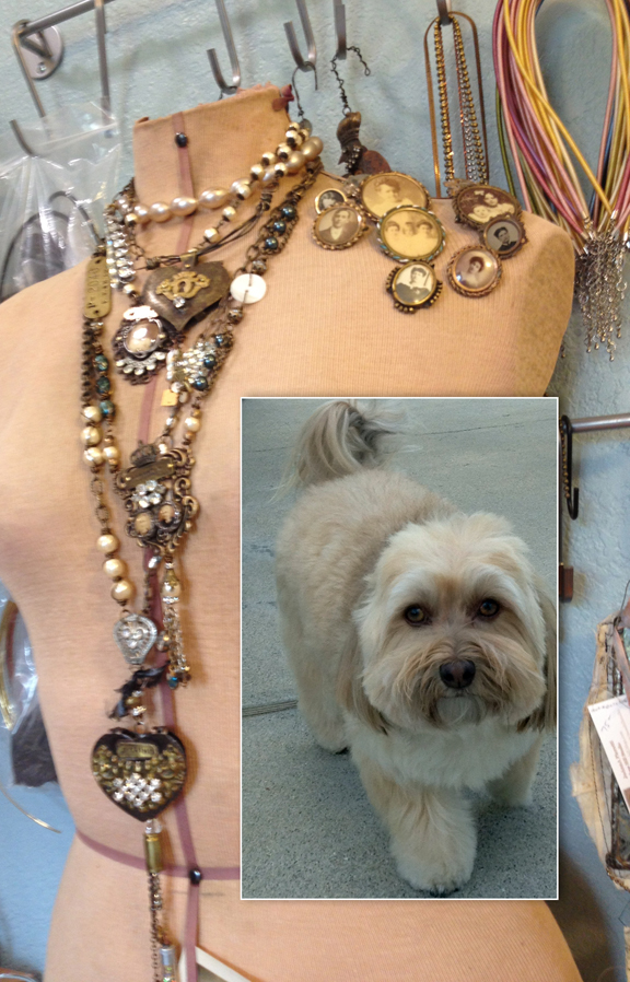 Laden mannequin in Riki's studio and her adorable Havanese, Mattie (inset).