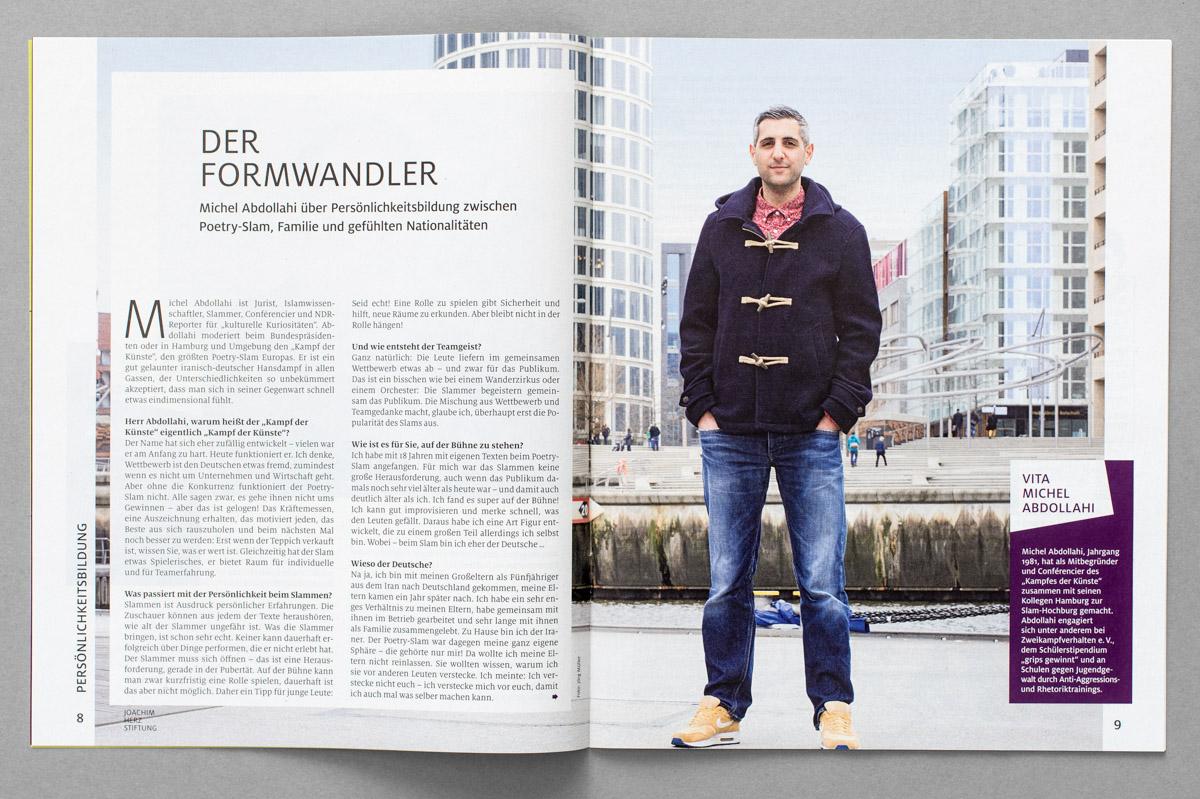 """Beilage der ZEIT, """"Aufbrüche"""" / Magazin der Joachim Herz Stiftung, Porträt von Michel Abdollahi"""