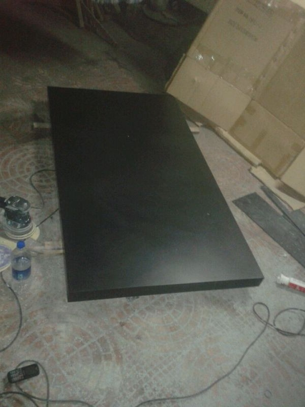 Black solid acrylic surface