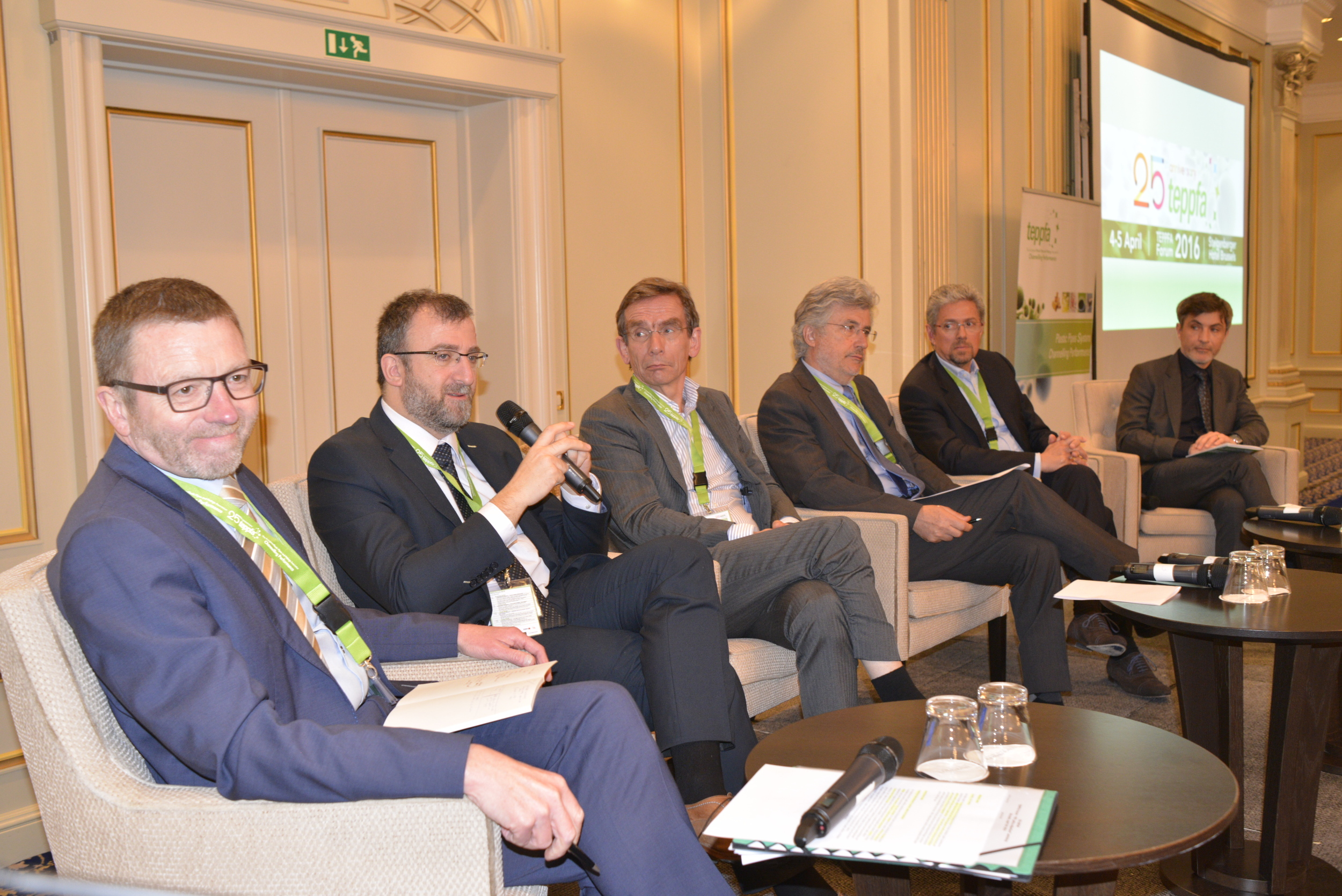 Conference session on Policy objectives of PEF at the TEPPFA Forum 2016. From left to right: Gwenole Cozigou, DG GROW, European Commission (moderator), Michele Galatola, DG ENV, European Commission, Mark Goedkoop, PRé, Paolo Masoni, ENEA, Frédéric Midy, EMEA, Aliaxis, Christophe Sykes, Construction Products Europe.
