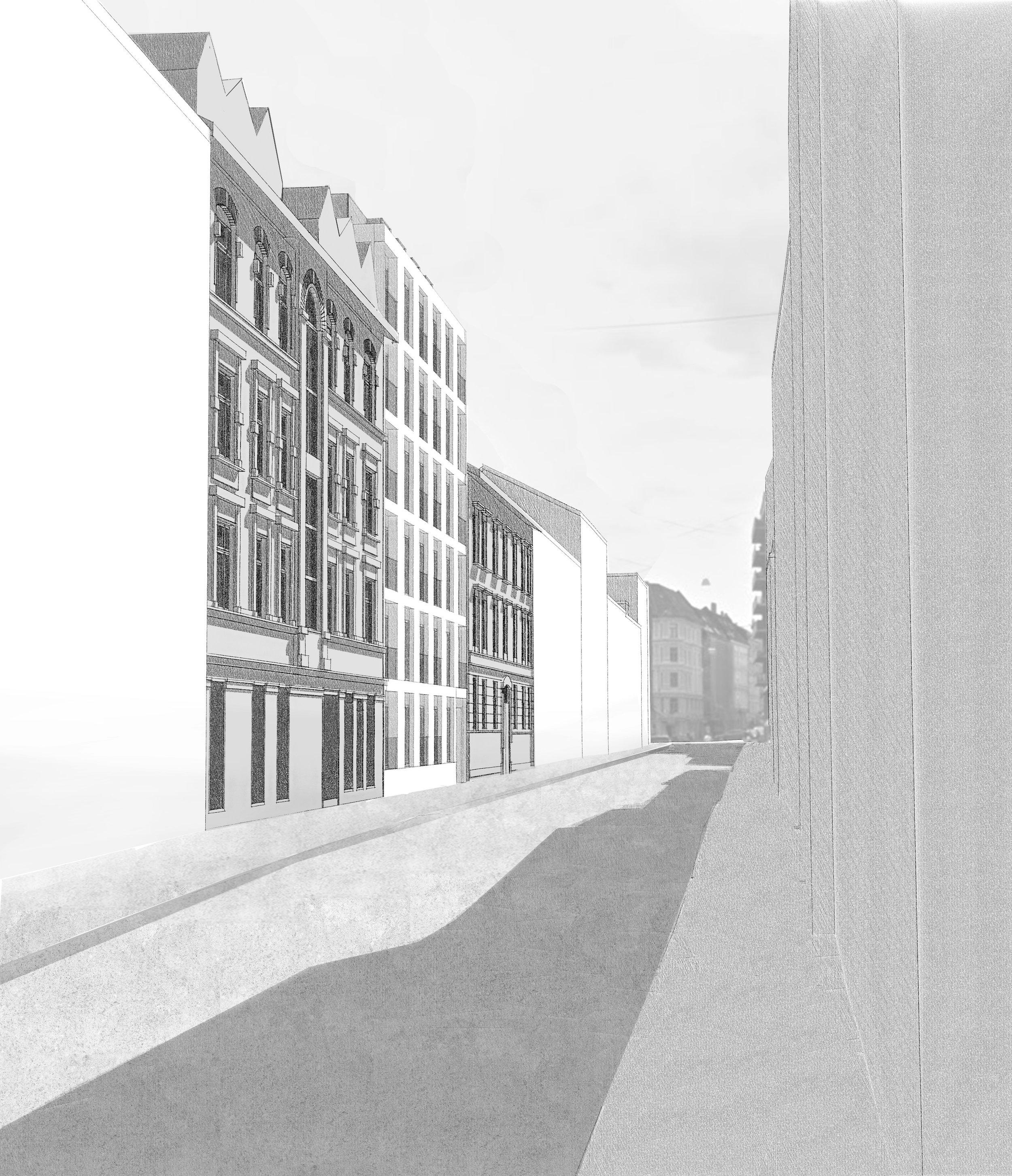 Gateperspektiv: alternativ med full 6. etasje