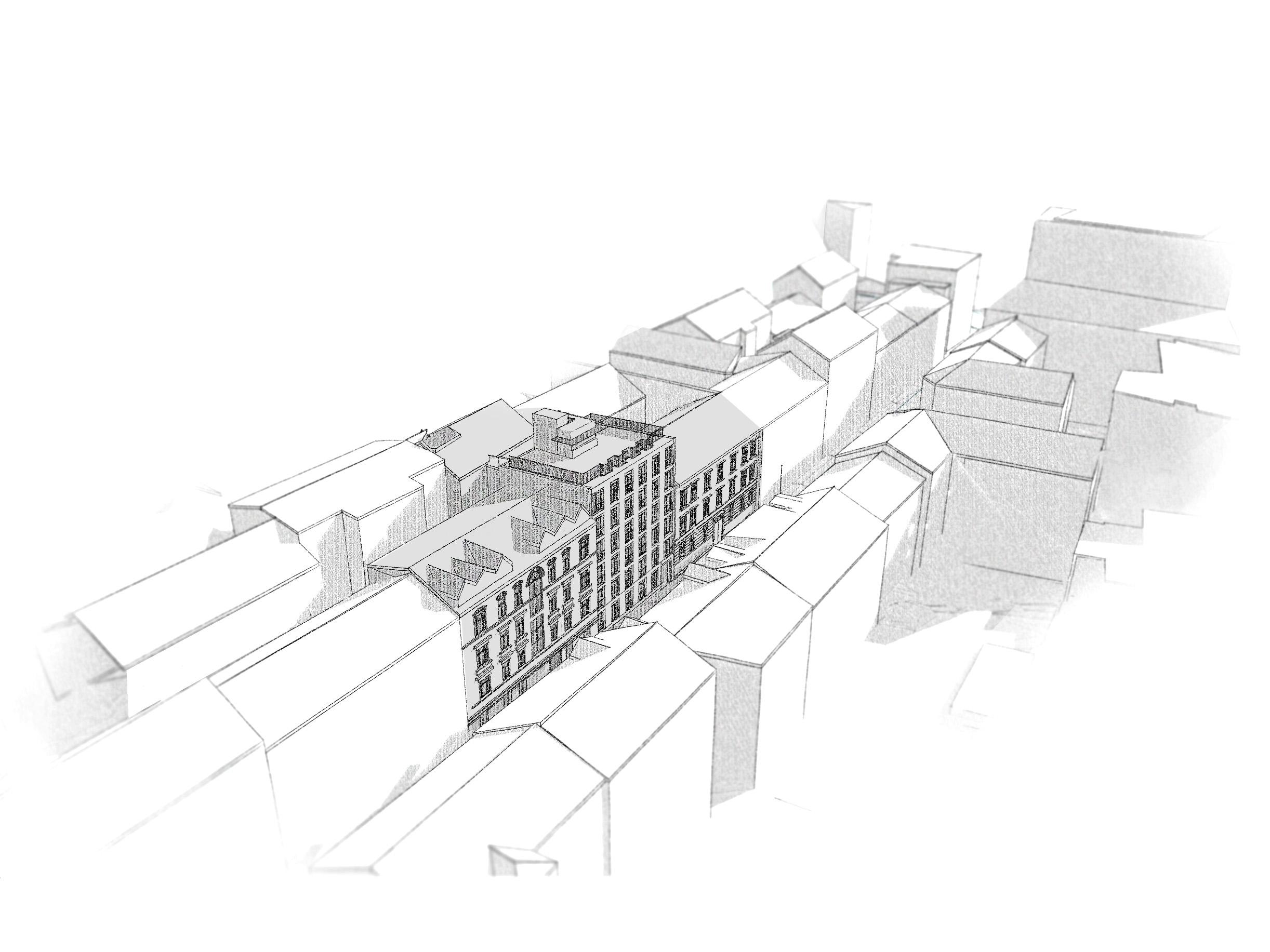 Fugleperspektiv: alternativ med full 6. etasje