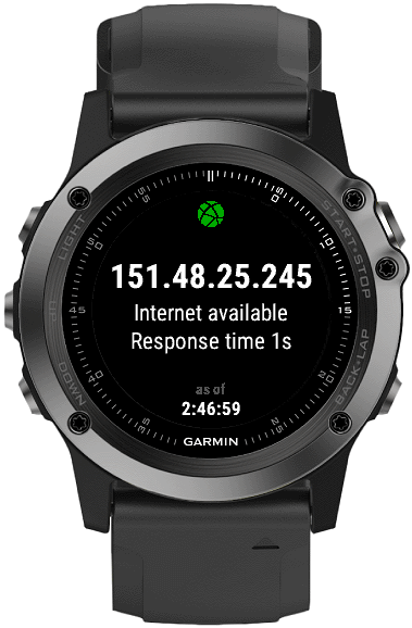 Network   Connect IQ widget for Garmin watches for testing network connectivity, mainly for use by other Connect IQ developers