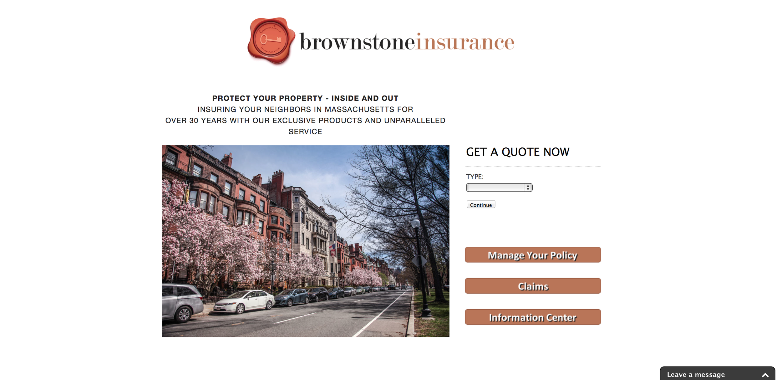 Brownstone Insurance: Logo and Web Design