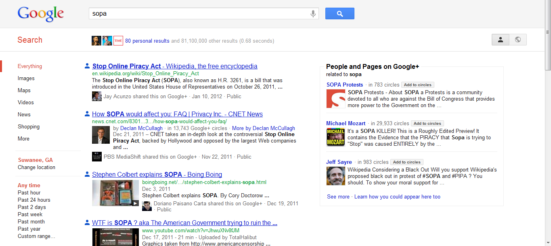 SOPA - social search results
