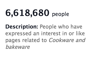 Bakeware audience on Facebook