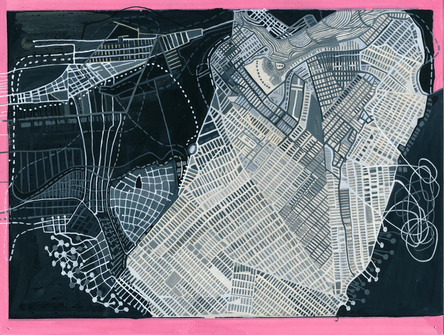 Re Imagining Brooklyn, 2016, watercolor, gouache, shellac ink and walnut ink, digital print on archival paper, 8.5 x 11 inches
