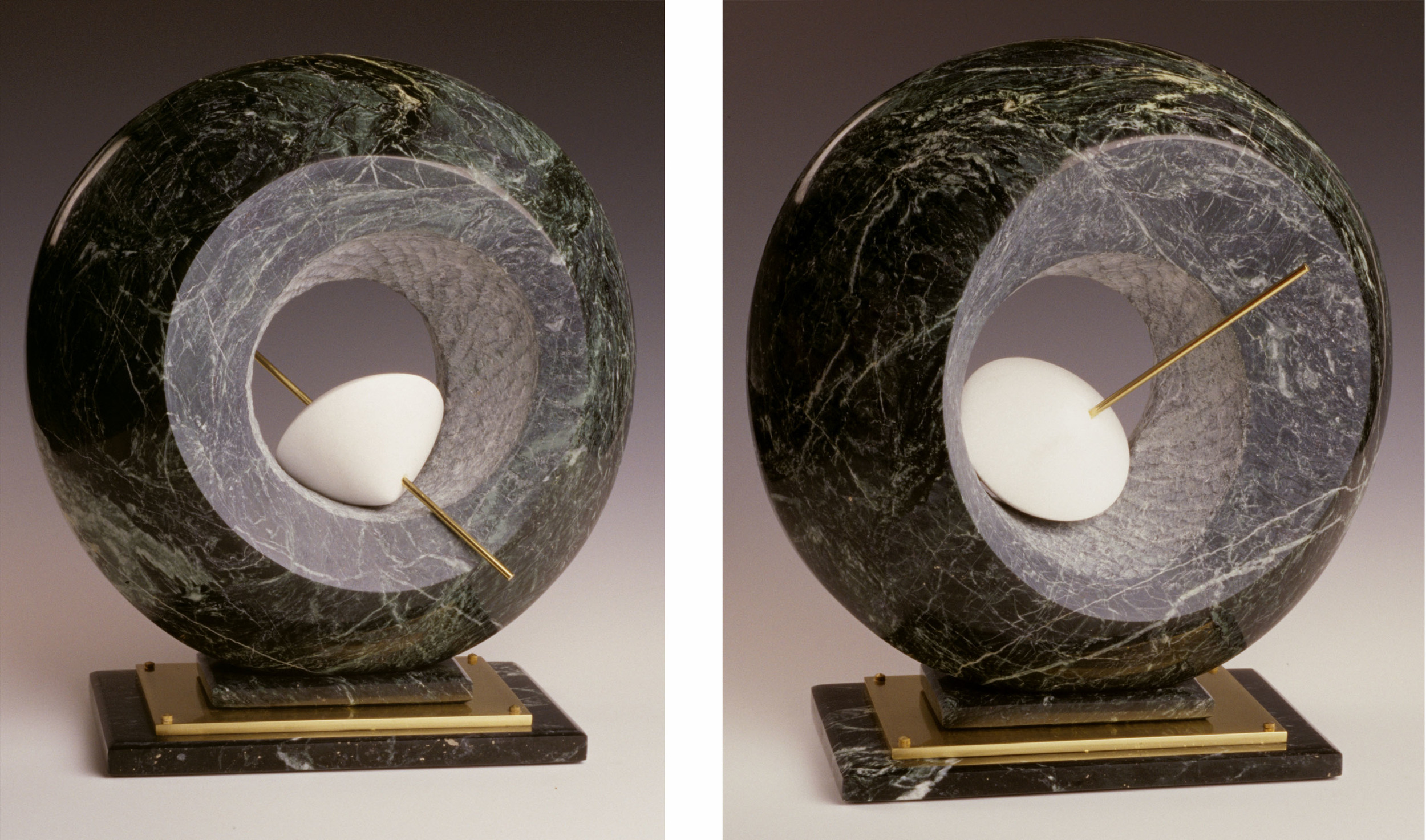 Unbound Hope - 16 x 14 x 7 inches - Verde Antique & Danby marble with brass