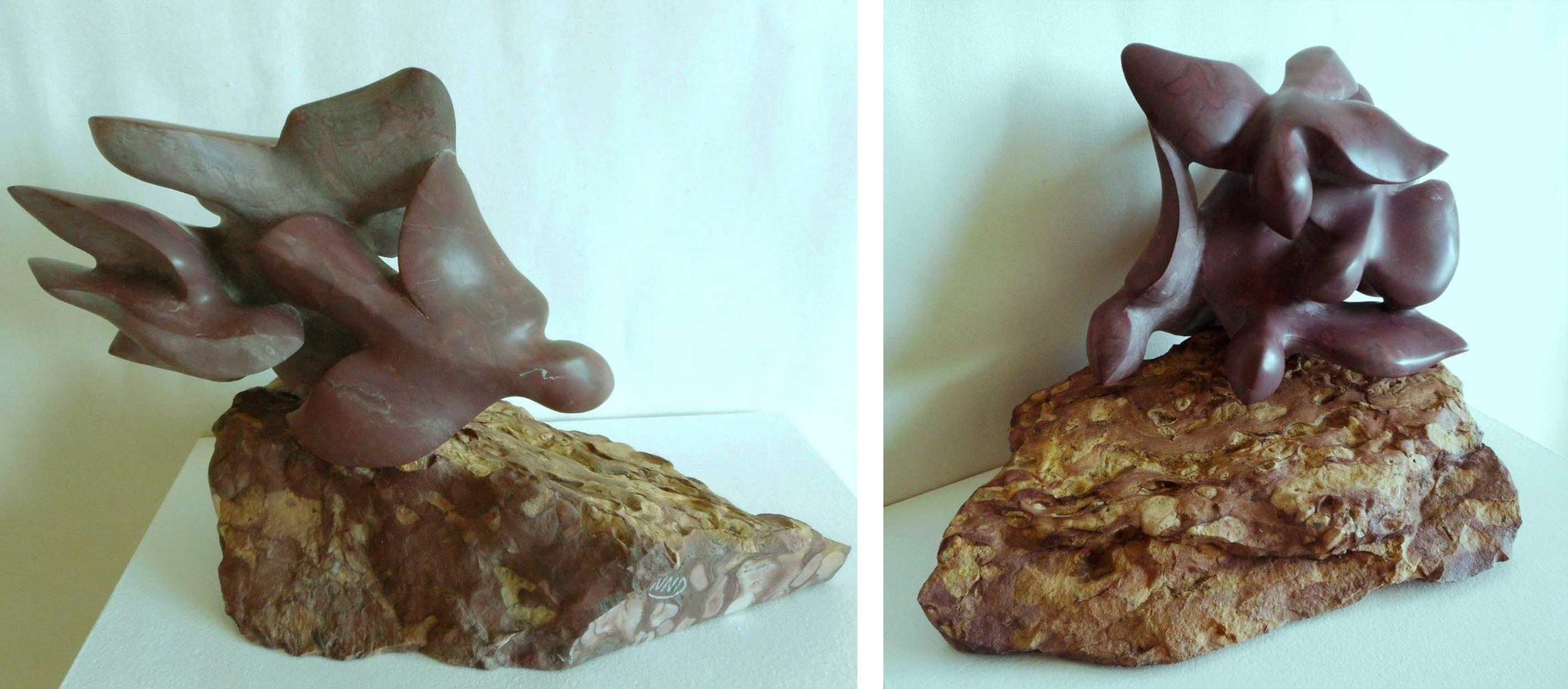 Flock in Flight - 12 x 9 x 10 inches - Swanton Red Marble