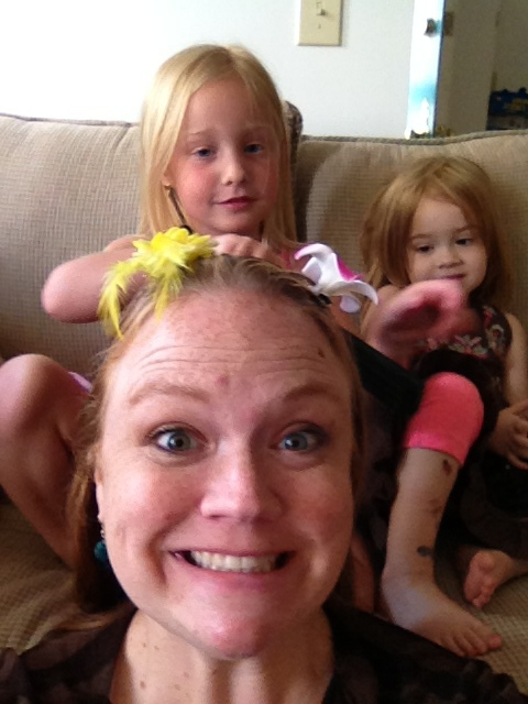 Katie doing my hair and Ainsley chilling on the couch
