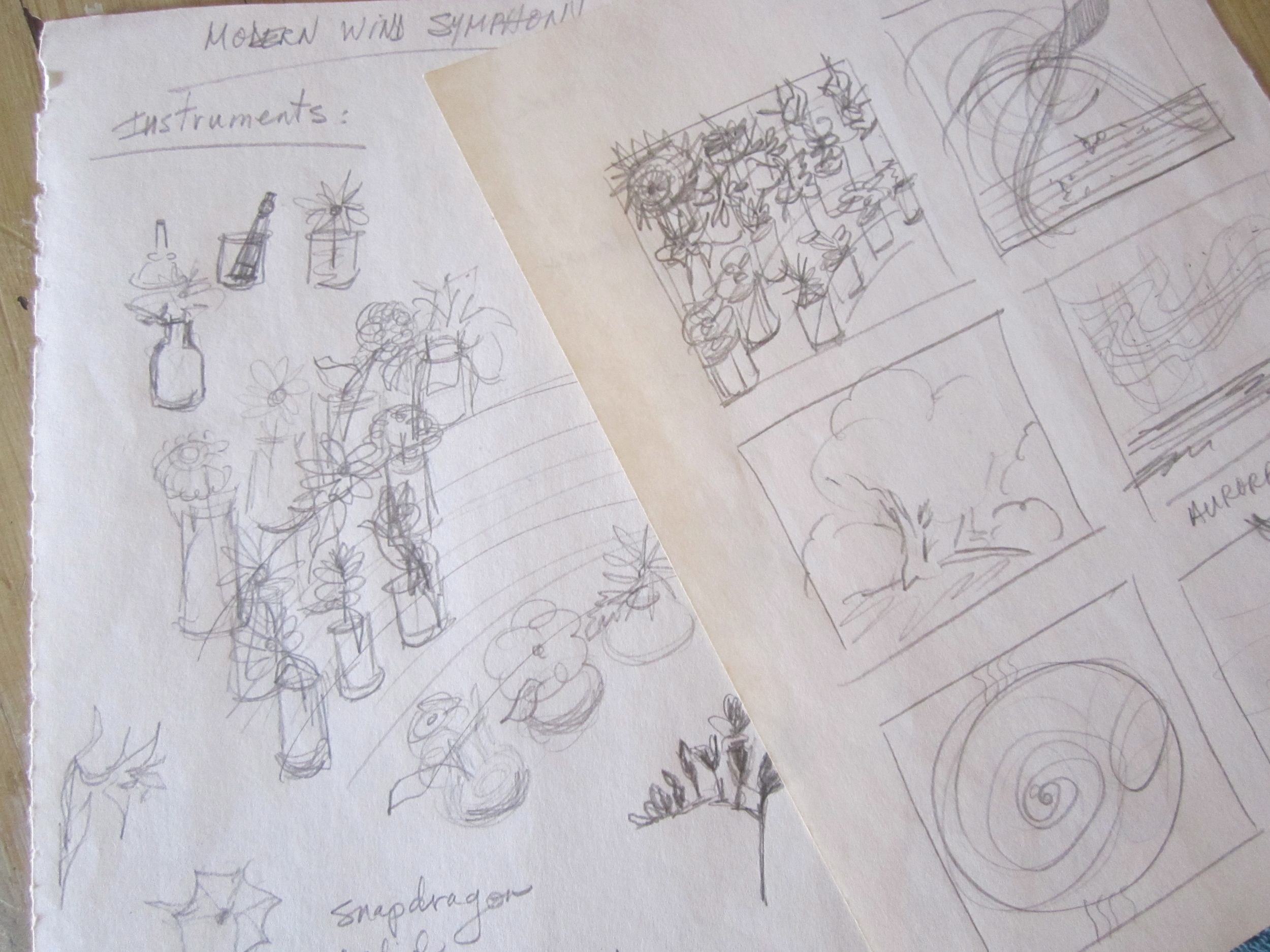 "Pencil sketches for ""Metaphoric Wind Ensemble"""