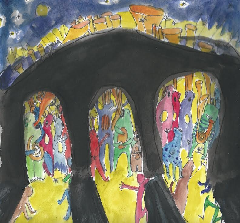 """Night at the Pops,"" for Grand Street Community Band, 2015. Watercolor."