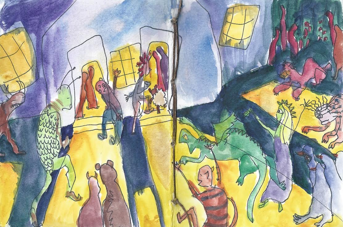 "Page from book, ""Meetinghouse."" Watercolor. 2015."