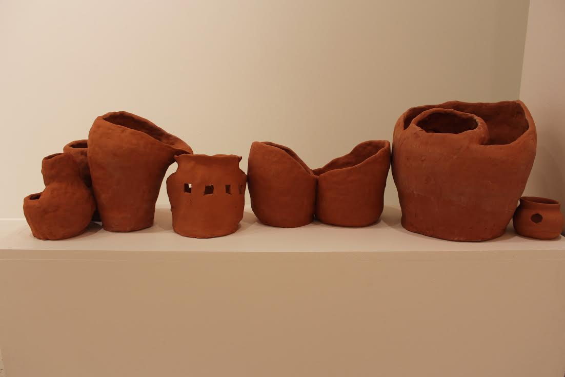 """Untitled, Pots Series,"" ceramics. Senior Thesis Installation, 2015"
