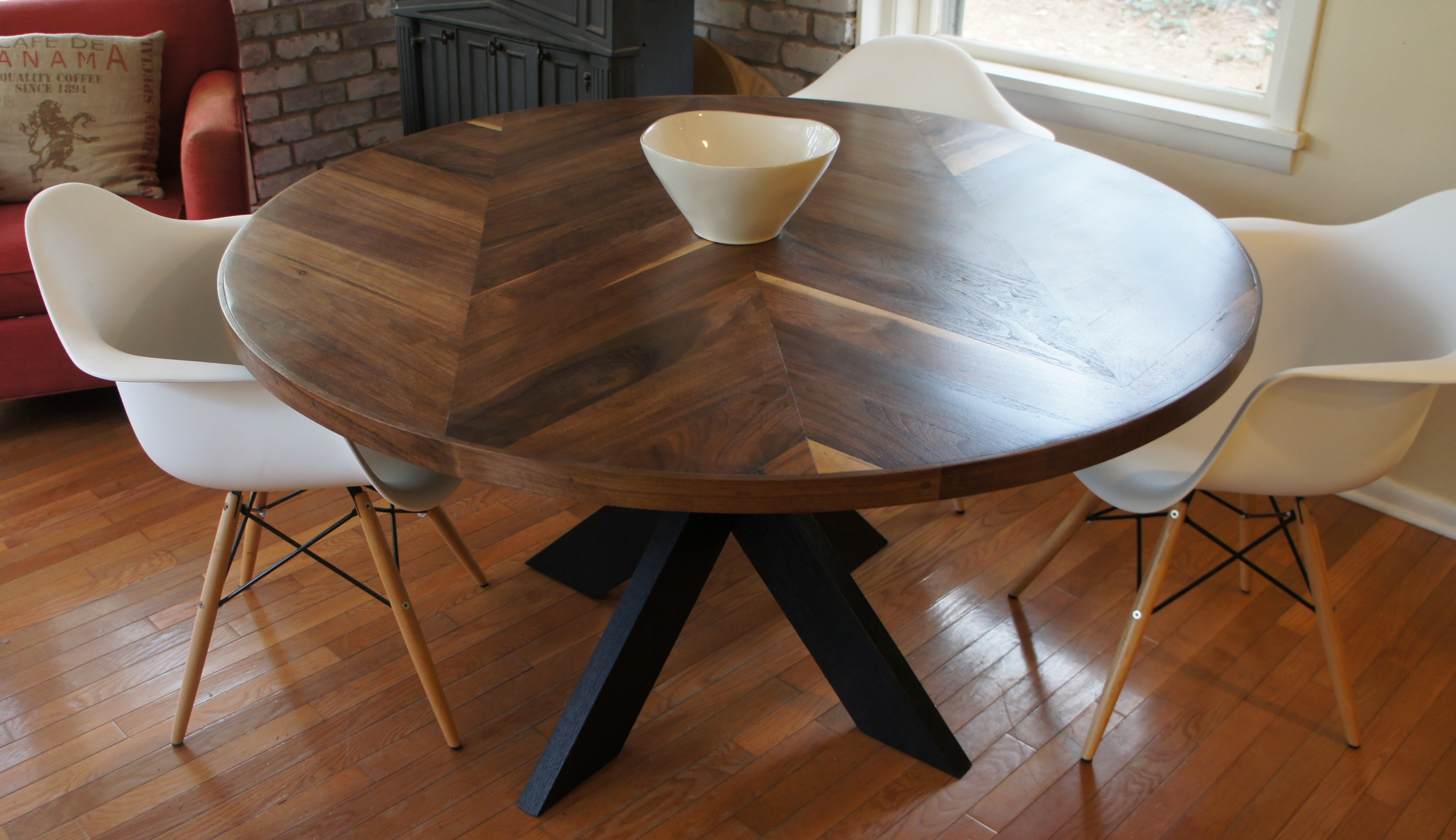 X Base Dining Room Table With Chevron, X Base Dining Room Table