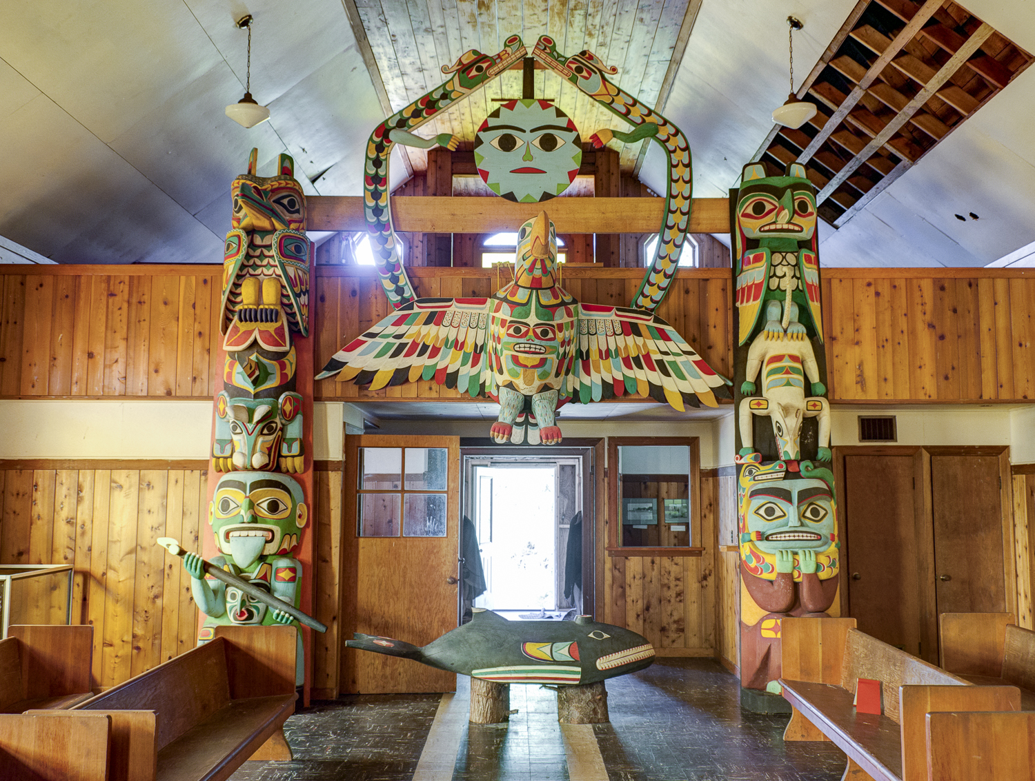 The totems guarding the church