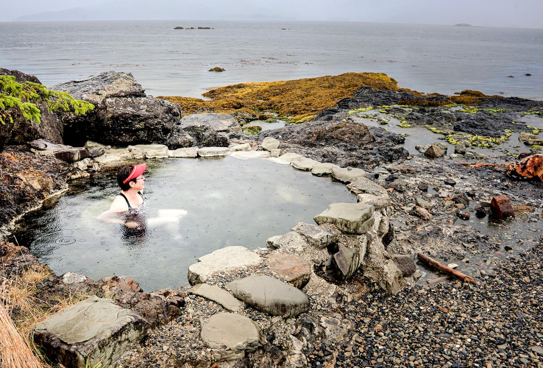 Karen enjoys one of the hot springs pool