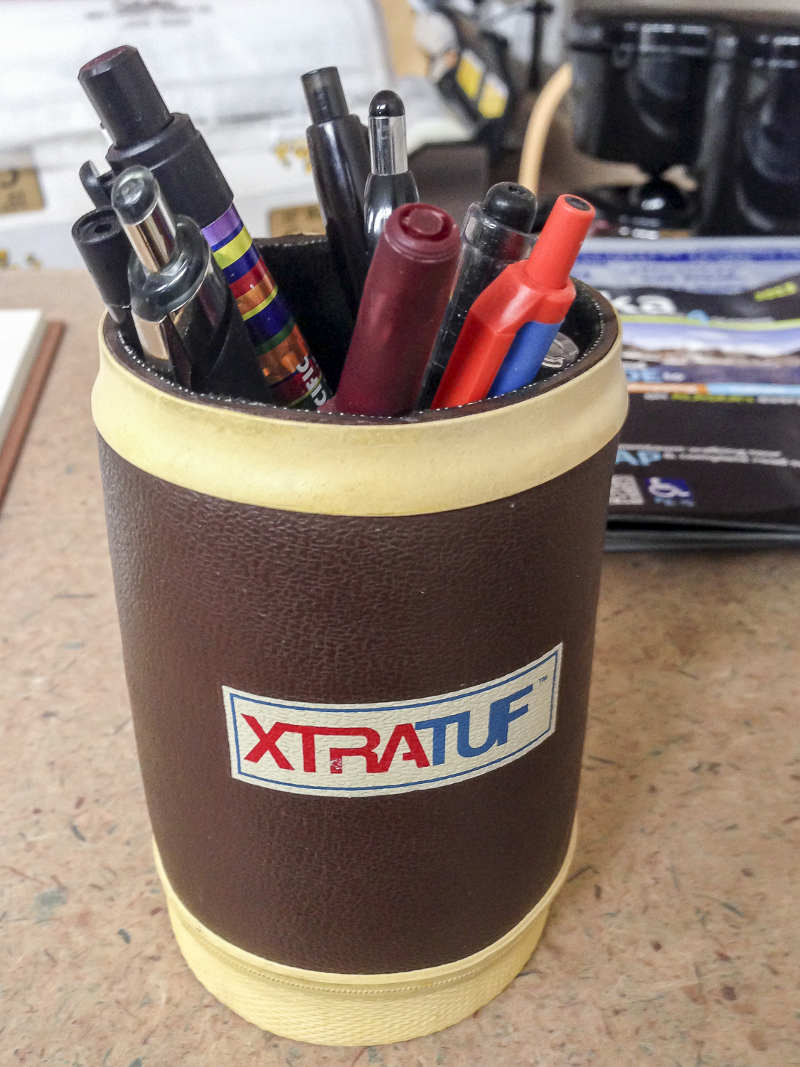 You know you're in Alaska when the pen holder is from Xtratuf.