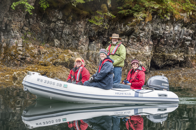 The crew of  Telita  out exploring ion their dinghy