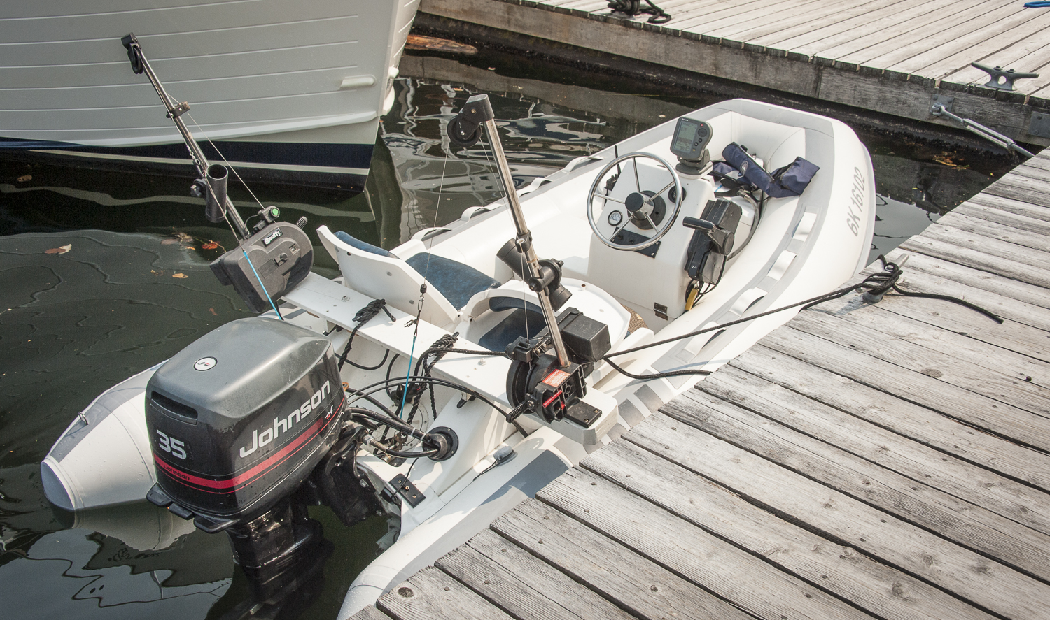 great dinghy tricked out for salmon fishing