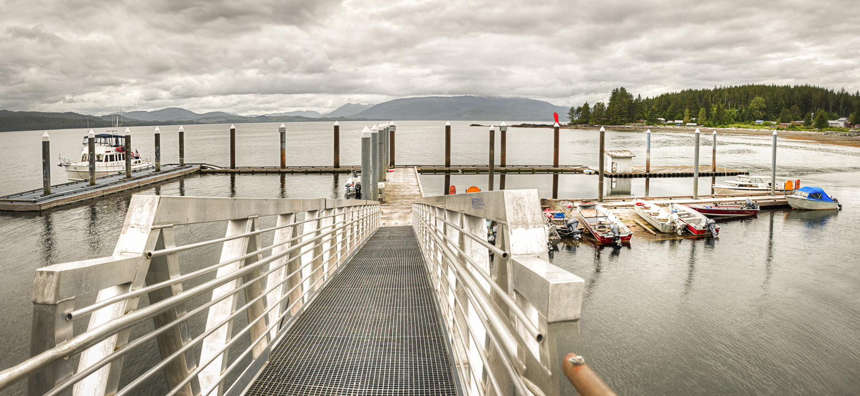 OceanFlyer  on the new docks at Kasaan.