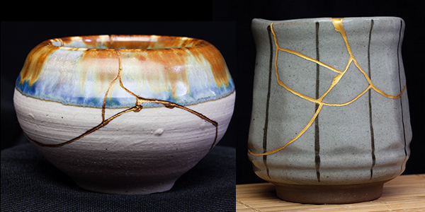 "Image Top: Kintsugi - translated to ""golden joinery"" or ""golden repair"" is the art of fixing broken pottery with a special lacquer dusted with powdered gold."