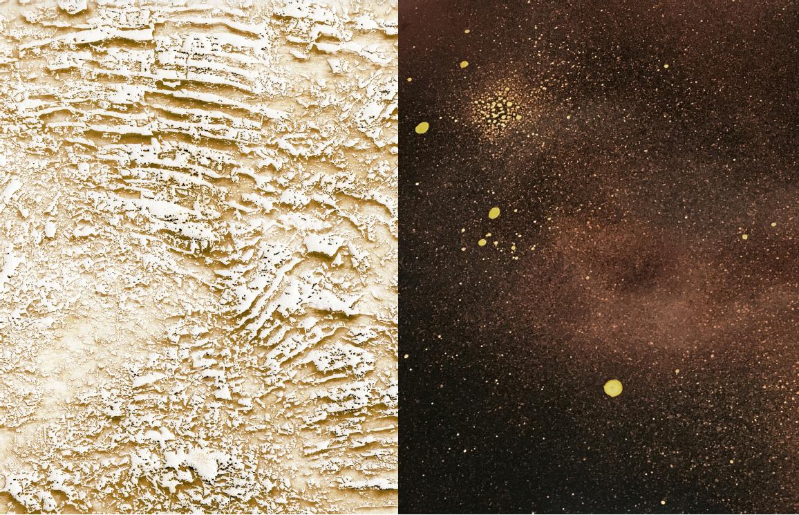 Left: Andréanne Michon,  Matrix Pyrogravure Embossing 2  (Detail), Right: Jennifer Brandon,  Dislocation  (Detail)