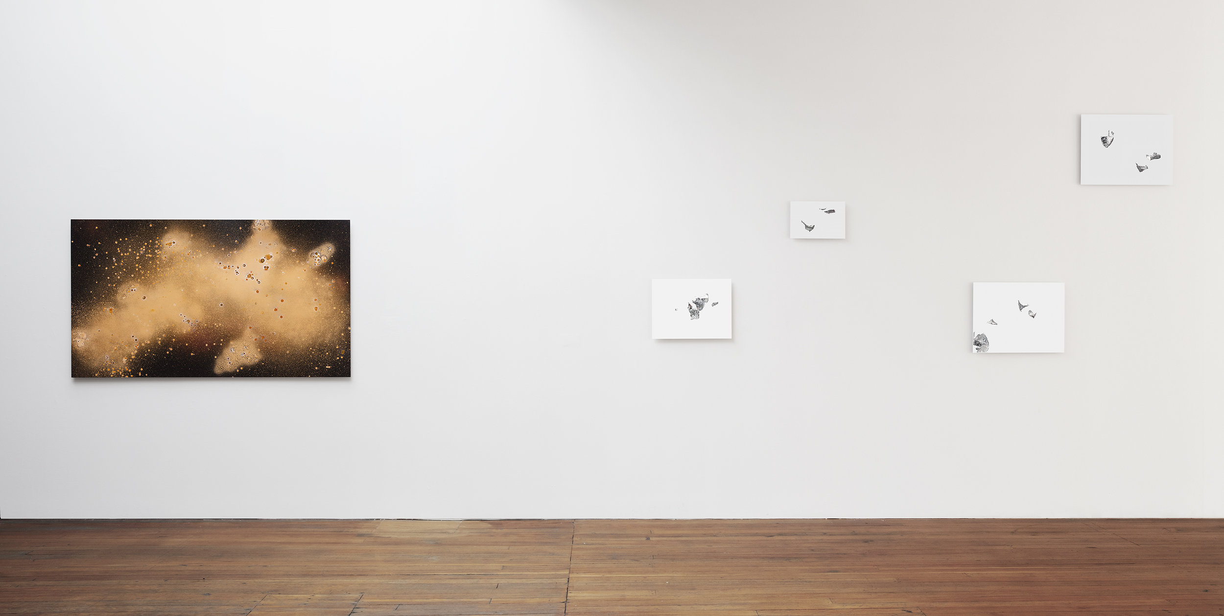 Jennifer Brandon's installation of  Dispersion II  (left) and  Silverscapes  (right).