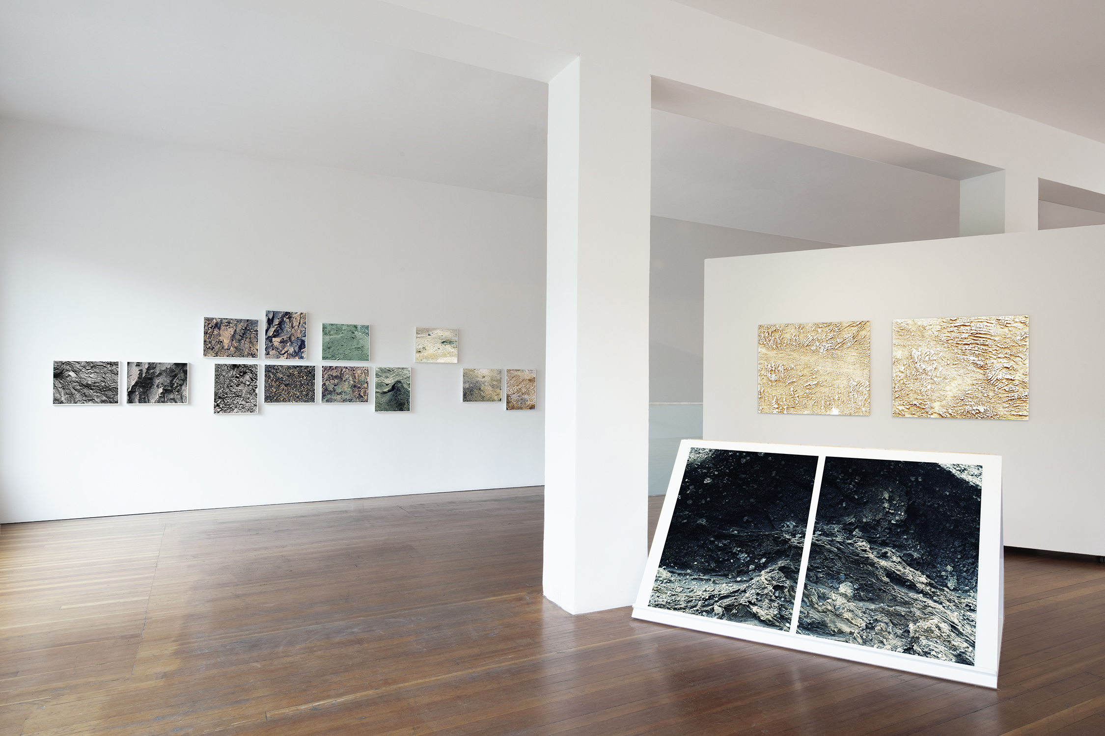 Andréanne Michon's installation of  Index ,  Matrix Pyrogravure Embossing  and  Collapse.