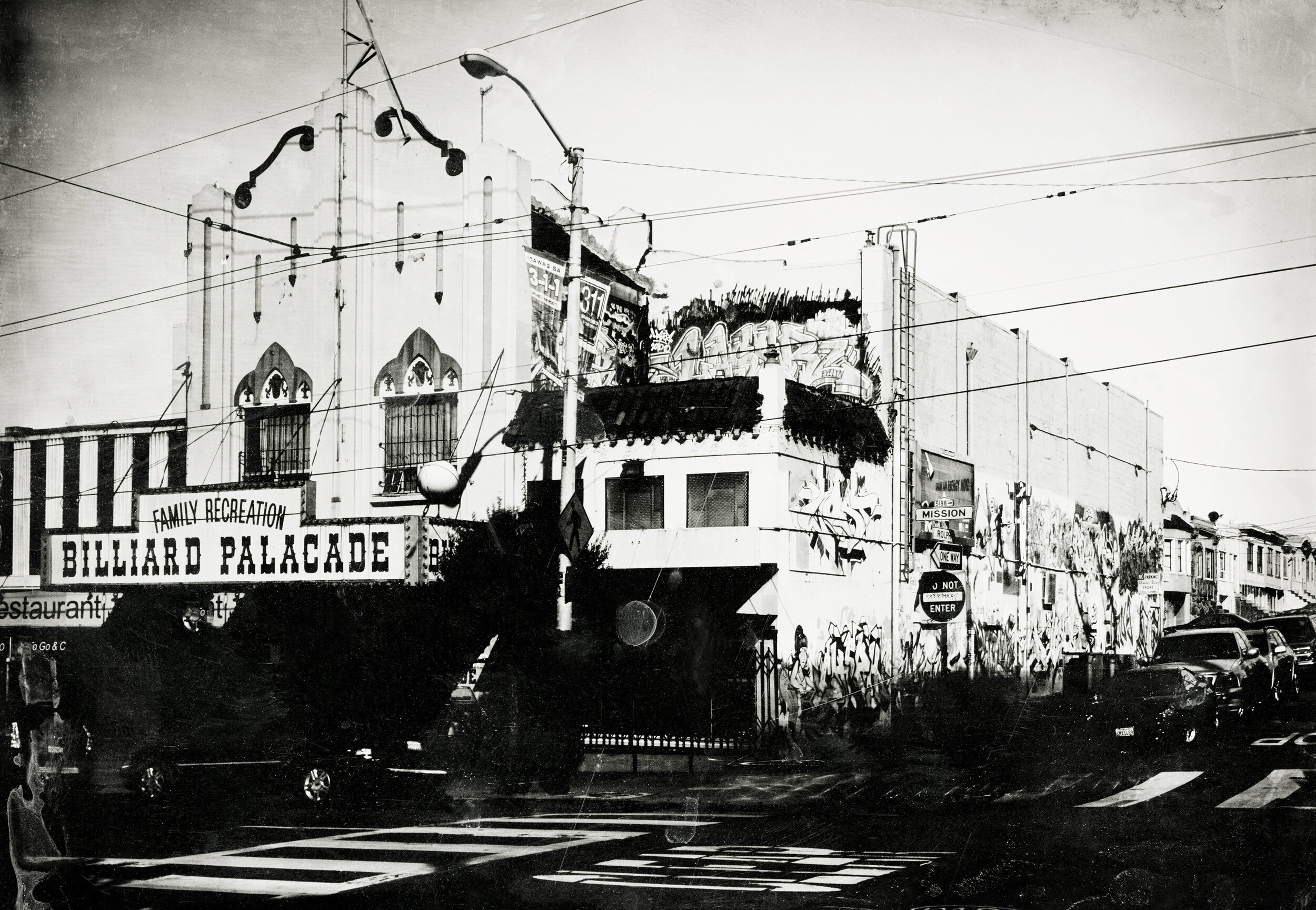 Billiard Palacade, Mission Street , 2015, silver gelatin print from collodion negative