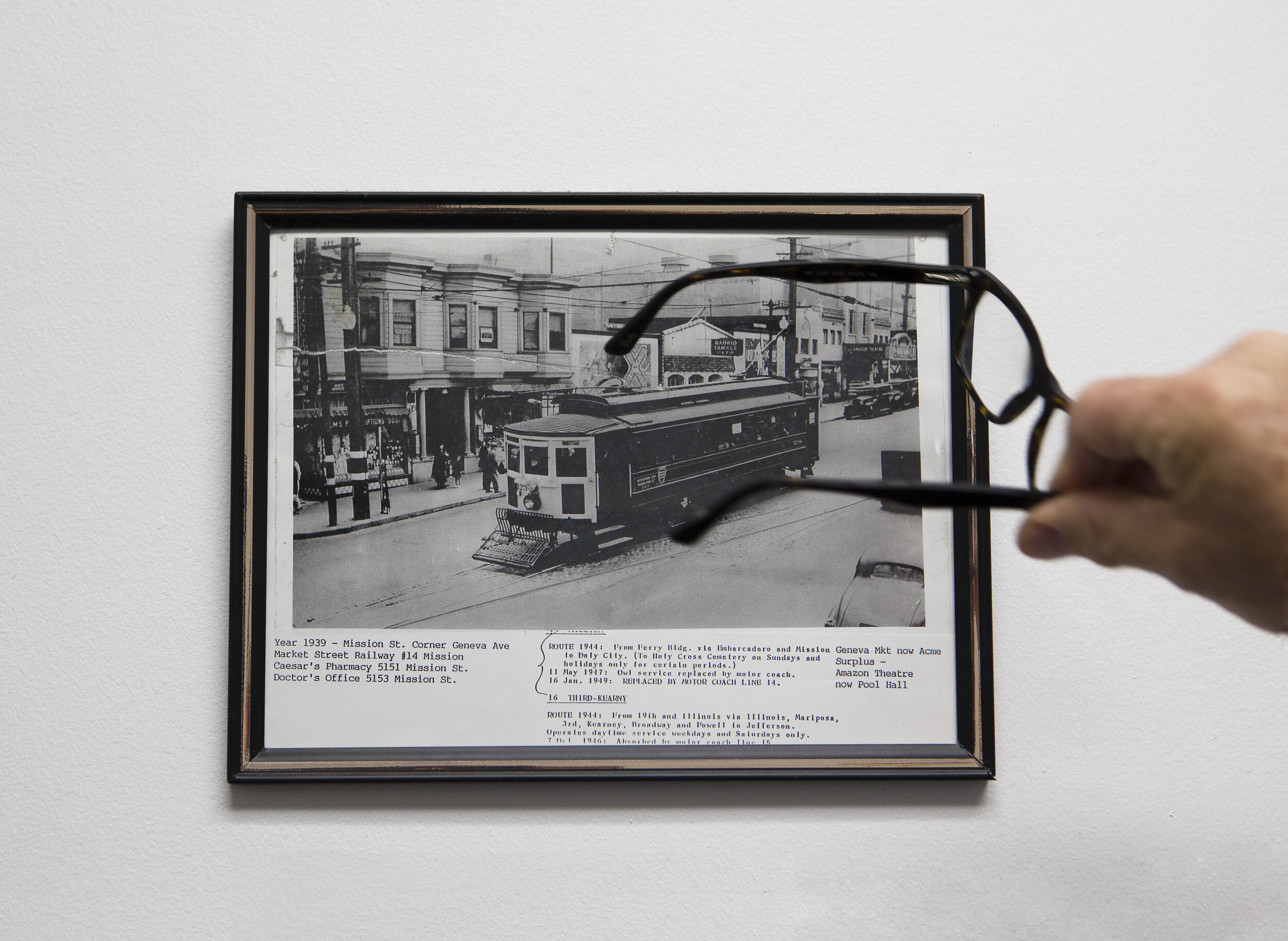 Bill's glasses pointing to the studio in 1939 , 2017, archival pigment print