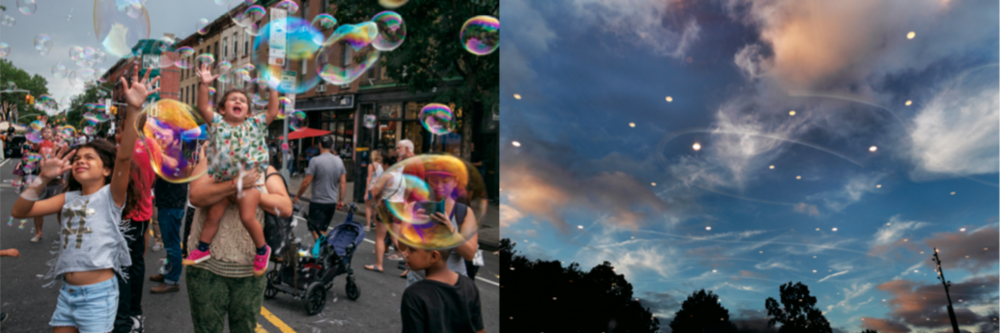 Left:  Alex Webb,  Park Slope , 2018 from  Brooklyn: The City Within;   Right:  Rebecca Norris Webb,  The Shimmering , 2018 from  Brooklyn: The City Within