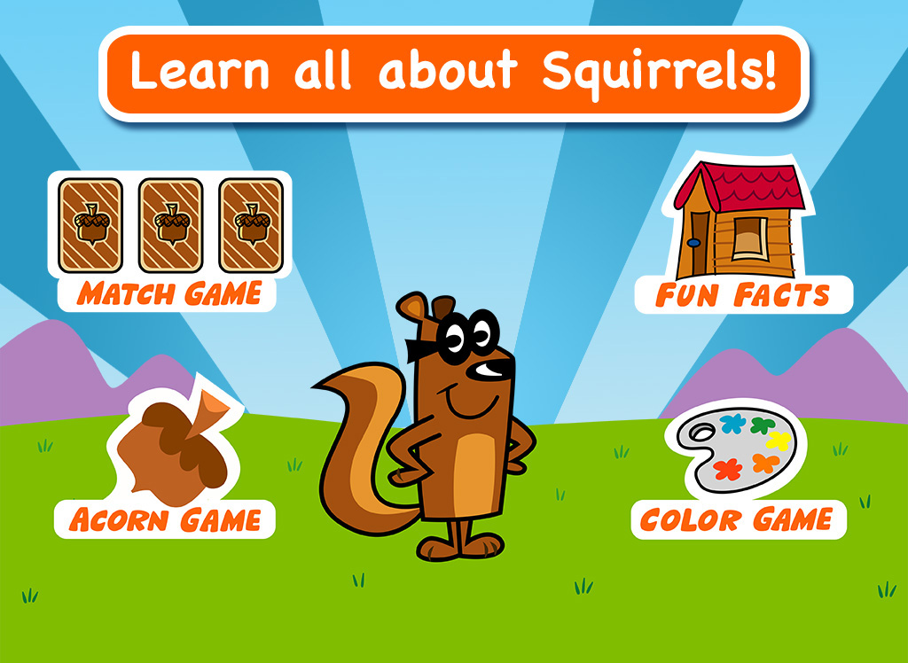 Nature-based app featuring Rusty the Squirrel