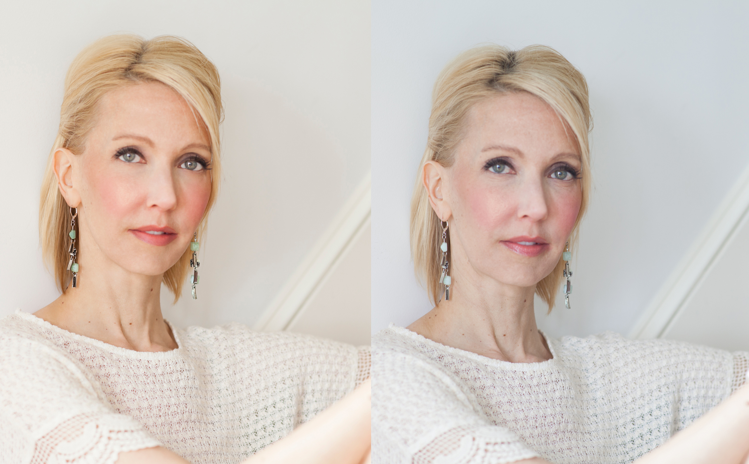 AFTER BEFORE  WORK INVOLVED: color correction, beauty/skin retouch maintaining a natural look