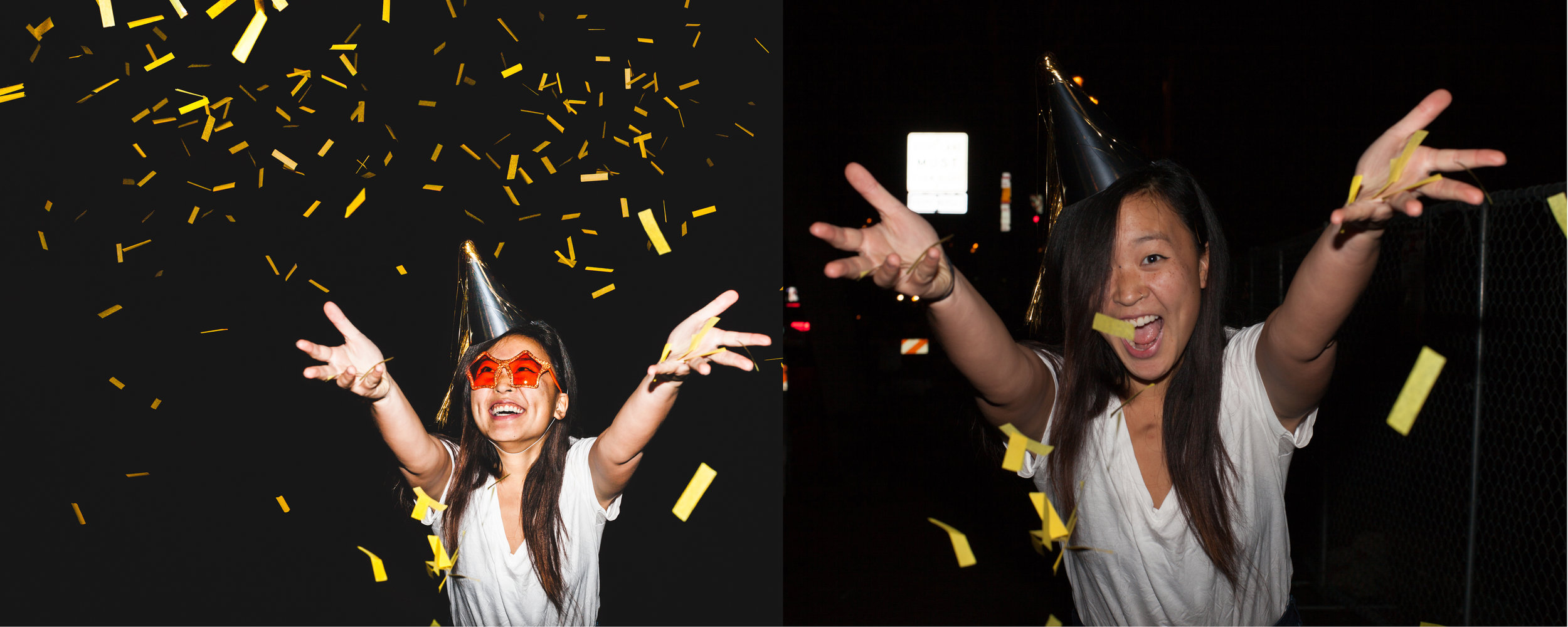 AFTER BEFORE  WORK INVOLVED: The final image is multi-image composite from 4 source images. Work included, head swap, background simplified, added confetti, blemish removal, color correction & density correction overall.