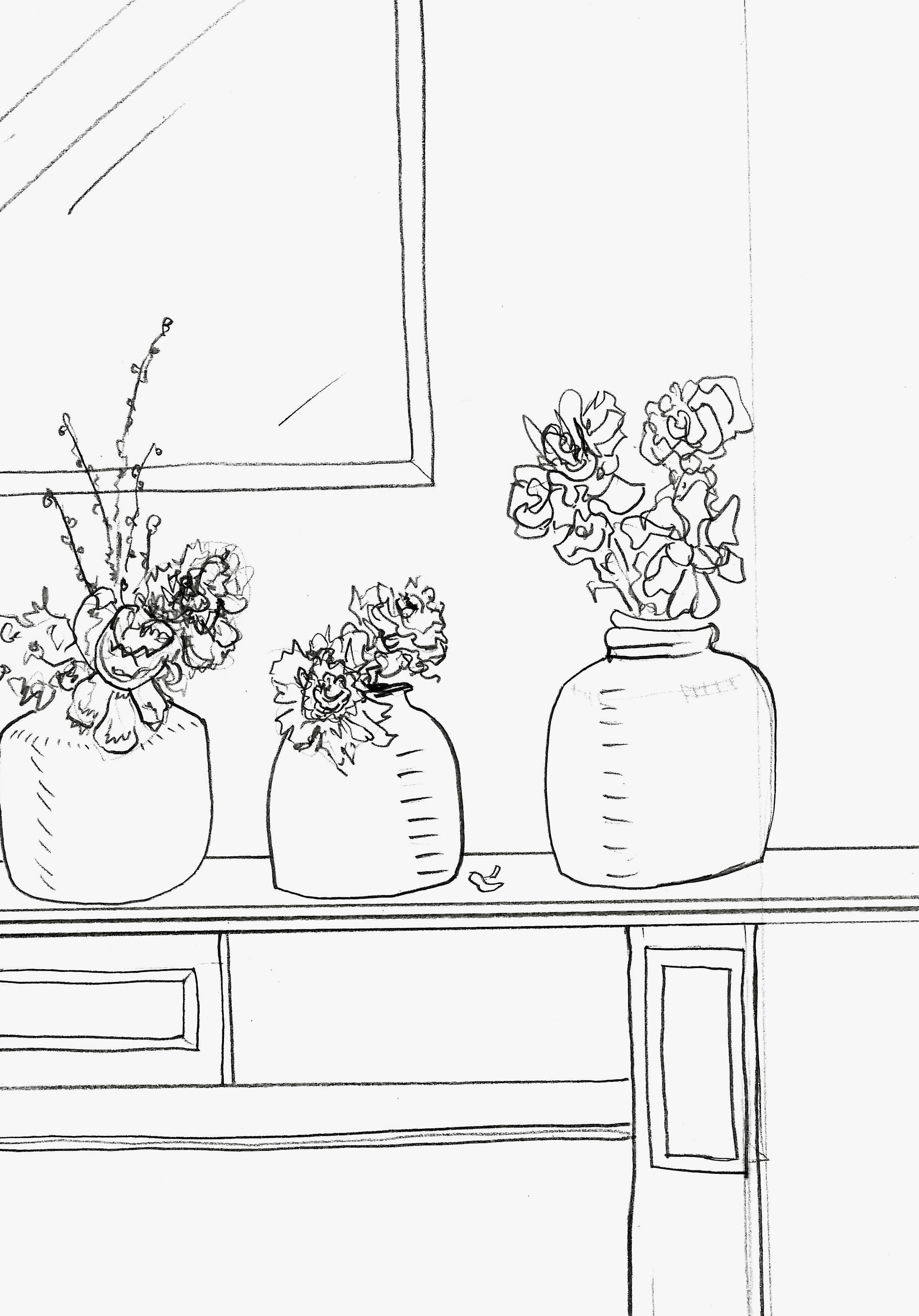 Zoe Hewett Interiors Flowers Sketch