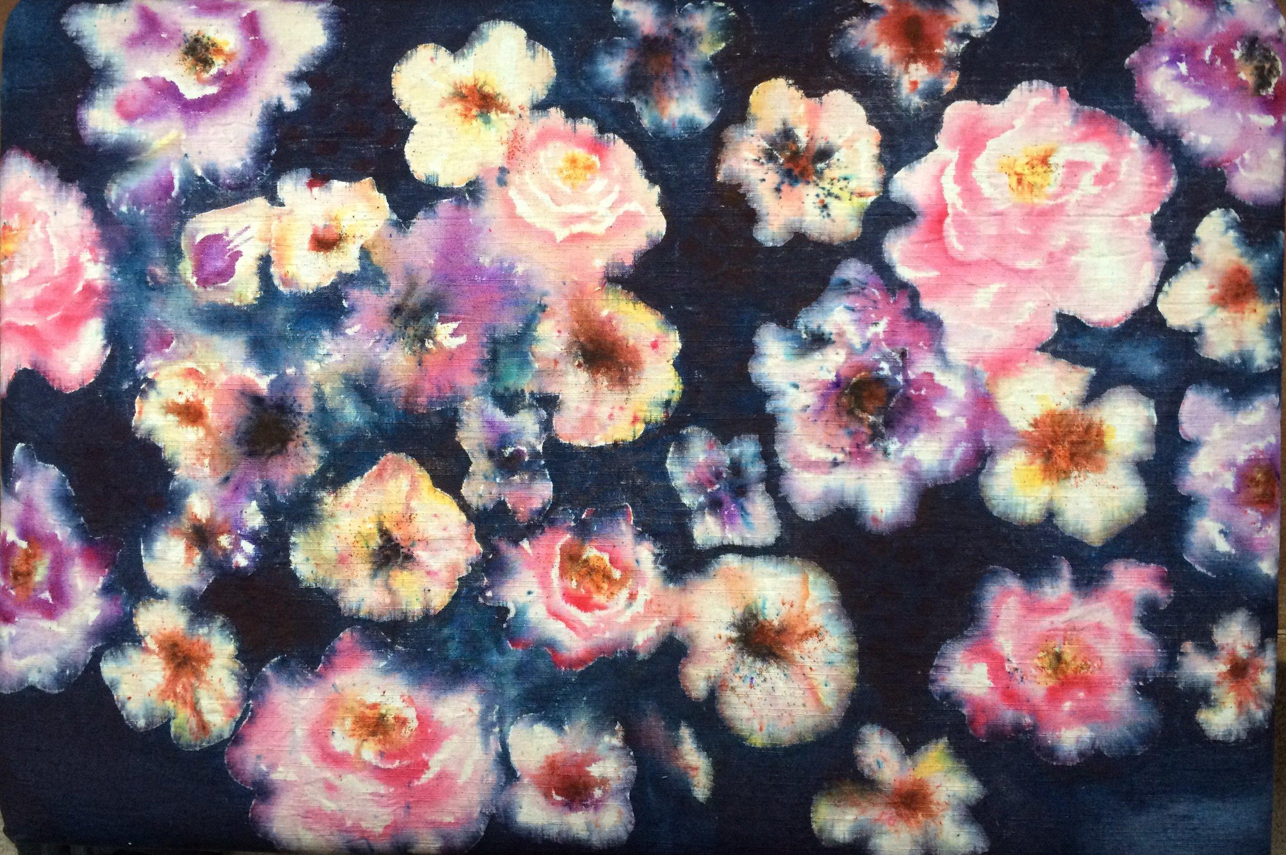 Zoe Hewett Interiors Painted Flower Fabric