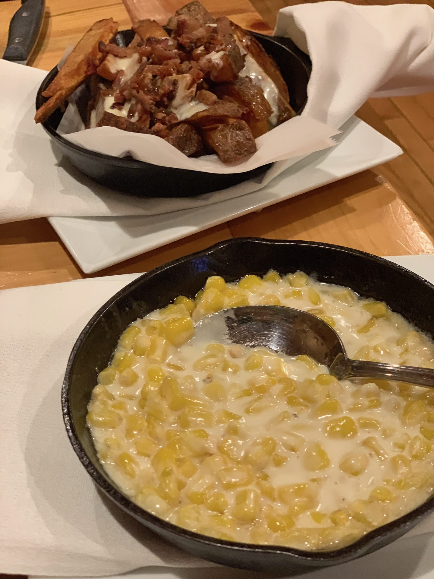 Creamed Corn and Manchego/Bacon Fries