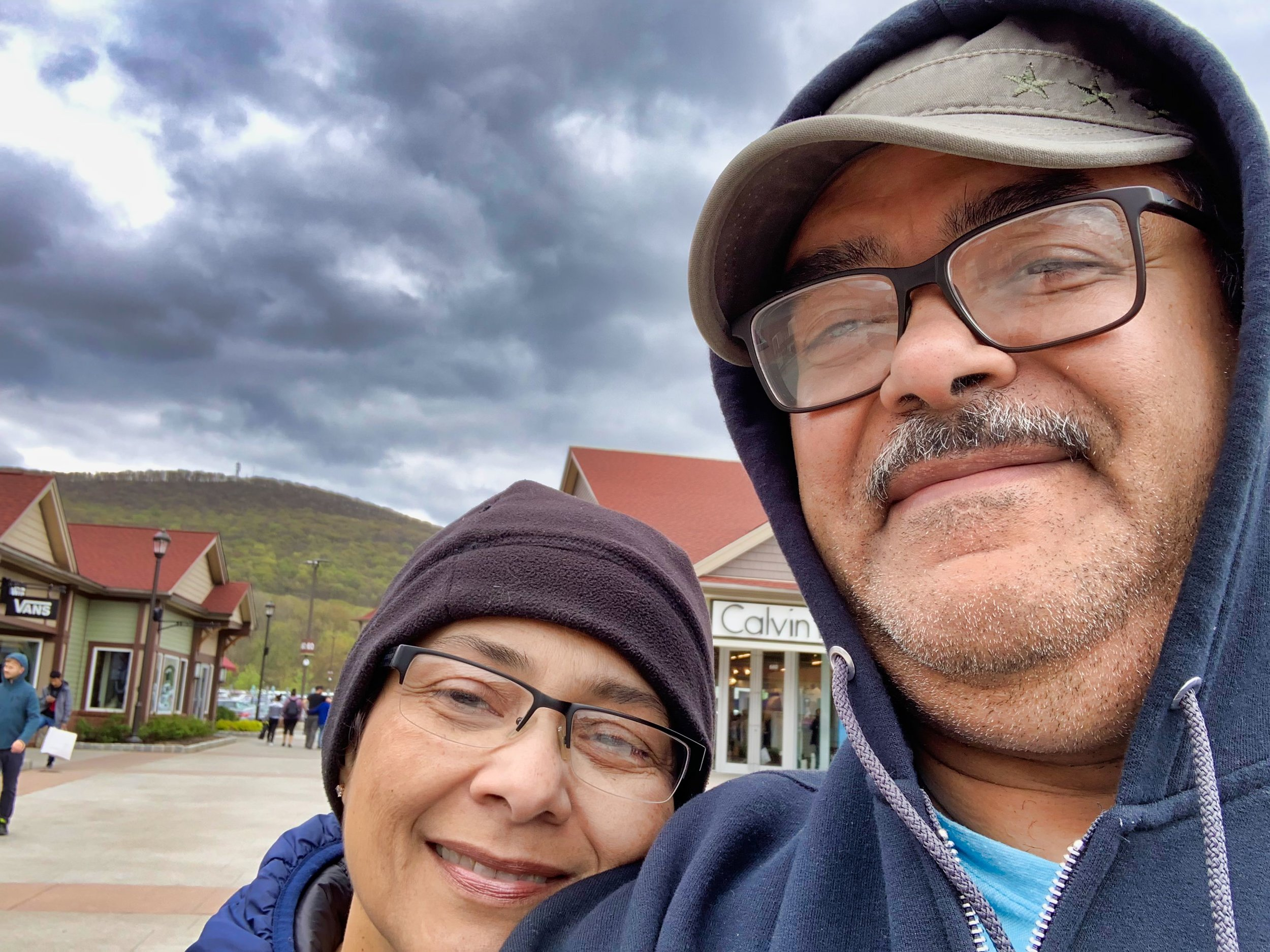 My wife and I at a very cold outlets!